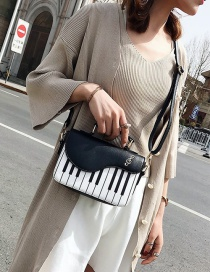 Fashion Black Contrast Embroidered Piano Notes Small Satchel