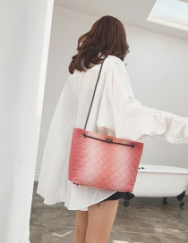 Fashion Pink Rhombic Chain Gradient Shoulder Bag