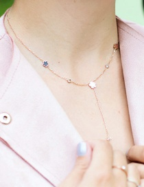 Fashion Rose Gold Stainless Steel Zircon Necklace