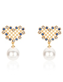 Fashion Gold + Blue Hollow Diamond-studded Pearl Pendant Earrings