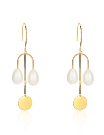 Fashion Gold Alloy Disc Pearl Drop Earrings