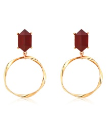 Fashion Gold Alloy Corrugated Ring Prismatic Resin Earrings