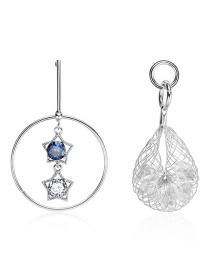 Fashion Silver Asymmetrical Hollow Mesh With Diamond Stud Earrings