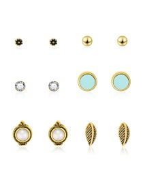 Fashion Gold Round Diamond Stud Earrings 6 Pairs