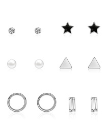 Fashion Silver Ring Star Triangle Triangle Diamond Stud Earrings 6 Pairs