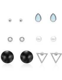 Fashion Silver Geometric Diamond-shaped Drop Pearl Stud Earrings 6 Pairs