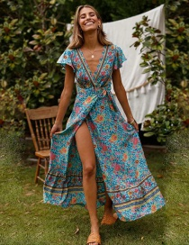 Lake Blue Dress Large Swing V-neck Tie With Printed Skirt