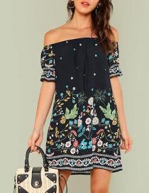 Dark Blue Printed Word Collar Wrap Dress