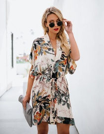 Black Printed V-neck Dress