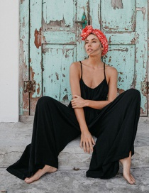 Black Sleeveless Strapless Sling Solid Color Long Piece Jumpsuit Back