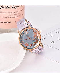 Fashion Light Blue Alloy Electronic Element Pu Printing Watch