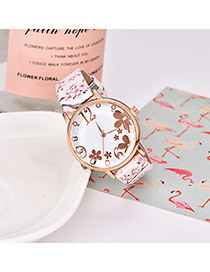 Fashion Creamy-white Alloy Electronic Element Pu Printing Watch