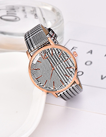 Fashion White Plaid Pu Alloy Electronic Element Watch