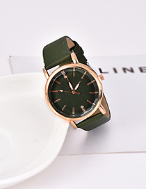 Fashion Dark Green Pu Alloy Electronic Watch