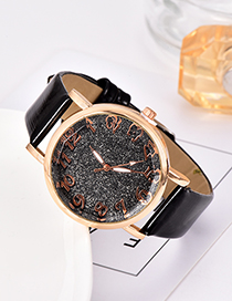 Fashion Black Pu Sequin Alloy Electronic Watch