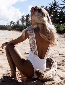 Fashion White One Piece Lace Swimsuit
