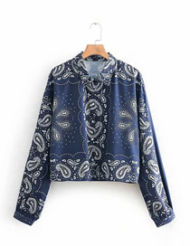 Fashion Cashew Blue Printed Short Lapels Long Sleeve Single-breasted Shirt