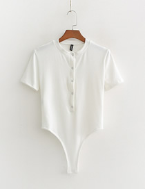 Fashion White Solid Color Single-breasted Short-sleeved Jumpsuit