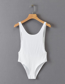 Fashion White Solid Color Backless Bodysuit