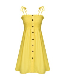 Fashion Grayish Yellow Tie A Wooden Ear Wrapped Chest Button A Word Dress