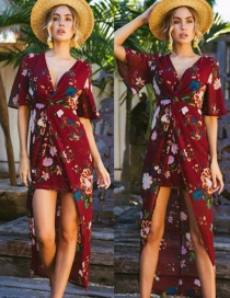 Fashion Wine Red V-neck Chiffon Print Irregular Swallowtail Split Dress