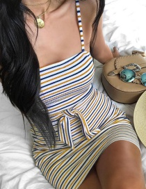 Fashion Green Stripe Wrapped Hip Top Dress