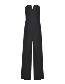 Fashion Black Straight Sling Strapless Backless Jumpsuit