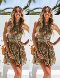 Fashion Green Halter Halter Waist Openwork Lace Dress