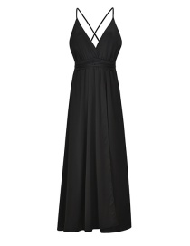 Fashion Black Sling Open Back Slit Dress