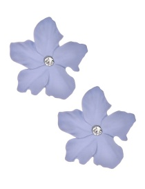 Fashion Light Purple Alloy Diamond Flower Earrings