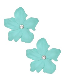 Fashion Light Green Alloy Diamond Flower Earrings