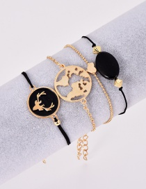 Fashion Gold Alloy Resin Elk Bracelet Hollow Map 4 Piece Set