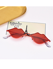 Fashion Red Alloy Resin Lips Sunglasses