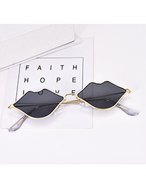 Fashion Gold + Black Alloy Resin Lips Sunglasses