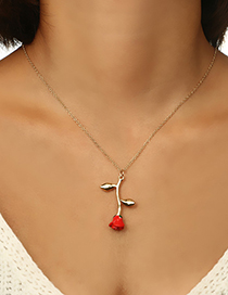 Fashion Red Rose Pendant Alloy Necklace