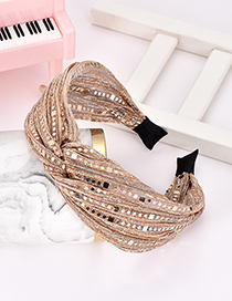 Fashion Gold Sequined Fabric Knotted Monochrome Headband
