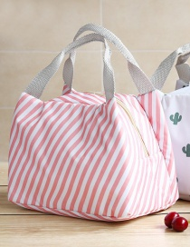 Fashion Pink Stripe Portable Waterproof Large Aluminum Foil Thickened Lunch Bag