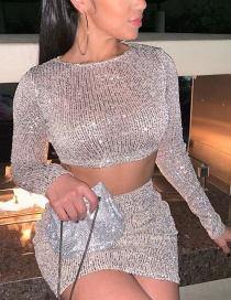 Fashion Silver Sequined Round Neck Long Sleeve Short T-shirt High Waist Skirt Suit