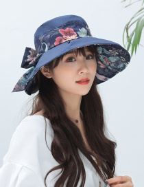 Fashion Navy Cotton Printed Fabric Straps With Bows And Big Hats