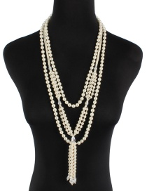Fashion Milky Pearl Long Knotted Sweater Chain