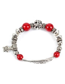 Fashion Silver Red Pine Fish Shaped Hollow Bracelet