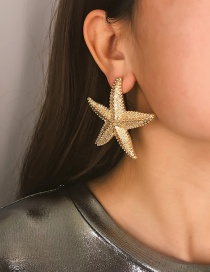 Fashion Golden Starfish 1370 Hollow Semicircular Geometric Imitation Pearl Earrings