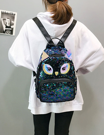 Fashion Blue Cartoon Sequin Backpack