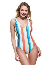 Fashion Rainbow Color Striped Print One-piece Swimsuit