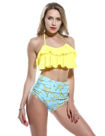 Fashion Yellow Double Ruffled Wrinkled Word Shoulder Swimsuit