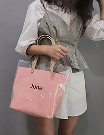 Fashion Pink Transparent Jelly Letter Hand Bag Shoulder Bag