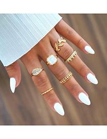Fashion Gold Leaf Full Diamond Crown Geometric Ring Set 6 Piece Set