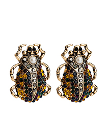 Fashion Black Acrylic Diamond Insect Earrings