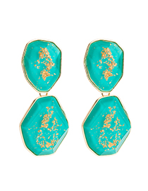 Fashion Blue Plate Earrings: Gold Flower Embellishment