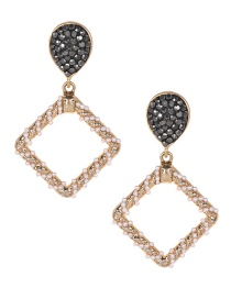 Fashion Gold Alloy Pearl Square Earrings